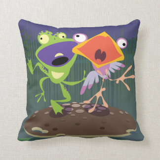 Funny Frog and Bird Cushion