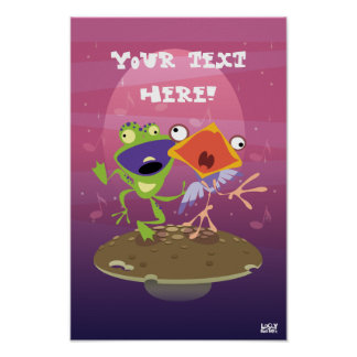 Funny Frog and Bird Poster