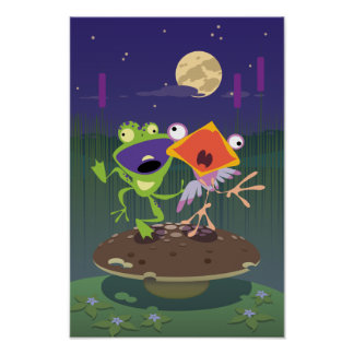 Funny Frog and Bird Posters