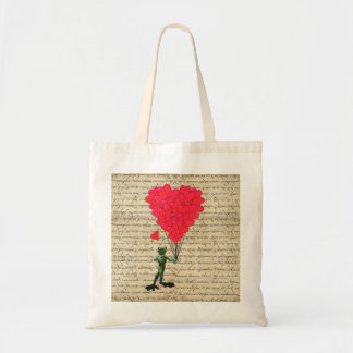 Funny frog and heart balloons budget tote bag