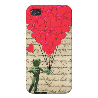 Funny frog and heart balloons case for iPhone 4