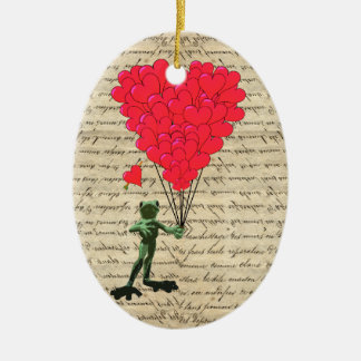 Funny frog and heart balloons christmas ornament