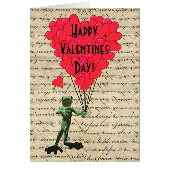 Funny frog and heart Valentines Card