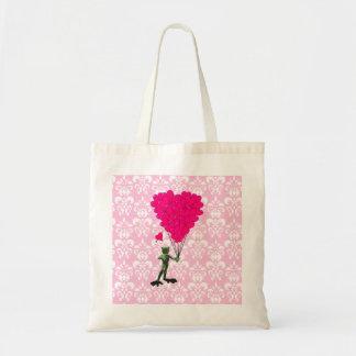 Funny frog cartoon & pink heart on damask budget tote bag