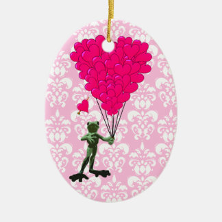 Funny frog cartoon & pink heart on damask christmas ornament