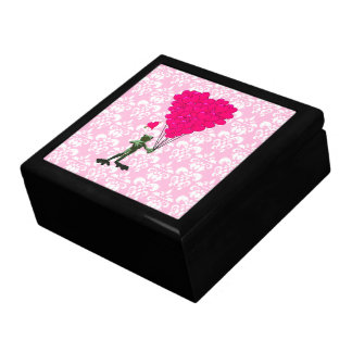 Funny frog cartoon & pink heart on damask gift box