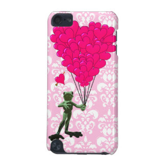 Funny frog cartoon & pink heart on damask iPod touch 5G case