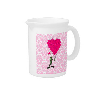 Funny frog cartoon & pink heart on damask pitcher