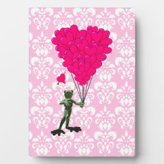 Funny frog cartoon & pink heart on damask plaque
