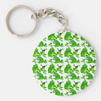 Funny Frog Emotions Mad Curious Scared Frogs Basic Round Button Key Ring
