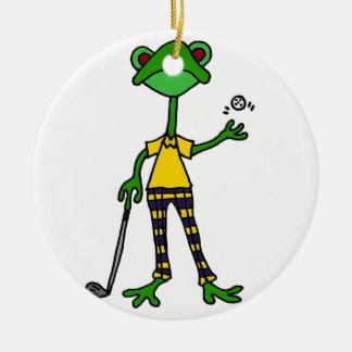 Funny Frog Golfing Art Christmas Ornament