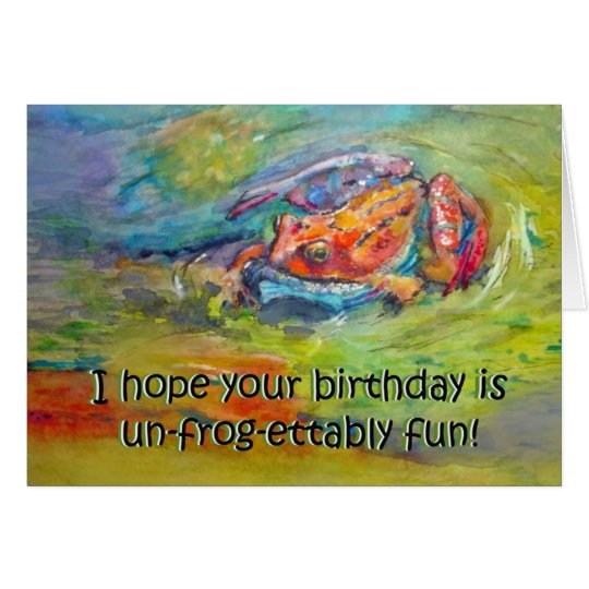 Funny Frog Happy Birthday Humour Greeting Card