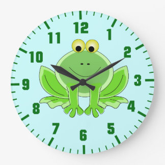funny frog large clock