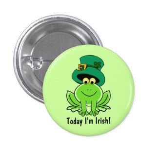 Funny Frog Leprechaun with Top Hat I'm Irish 3 Cm Round Badge