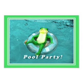 Funny Frog Pool Party 9 Cm X 13 Cm Invitation Card