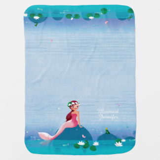 Funny Frog Prince and the Sweet Little Mermaid Baby Blanket