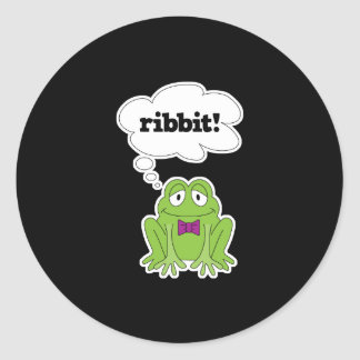 funny frog saying ribbit round sticker