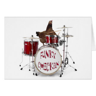 Funny FUNKY CHICKEN DRUMMER greeting Card