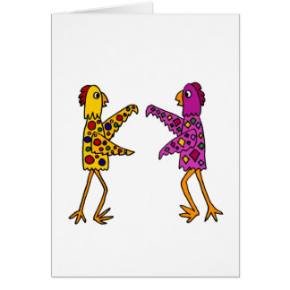 Funny Funky Chickens Dancing Greeting Card