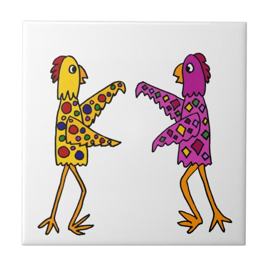 Funny Funky Chickens Dancing Small Square Tile