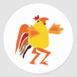Funny Funky Rooster Cartoon Stickers