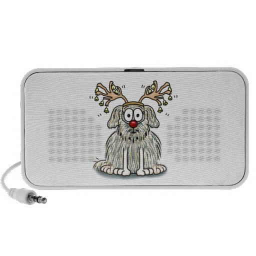 Funny Furry Whimsical Dog with Antlers & Red Nose iPod Speakers
