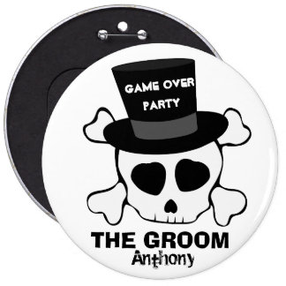 Funny game over party skull 6 cm round badge