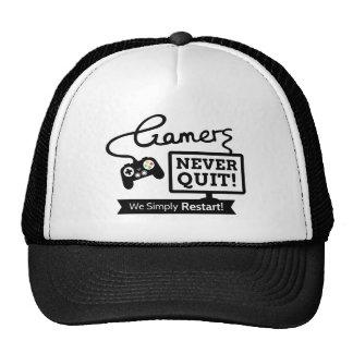 Funny Gamers Never Quit Quote Cap