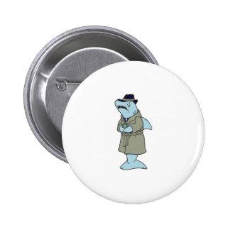 funny ganster shark 6 cm round badge