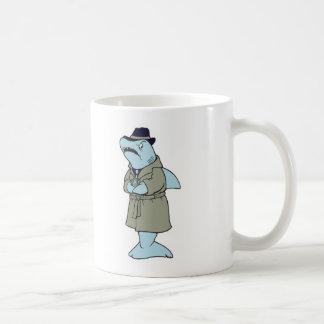 funny ganster shark basic white mug