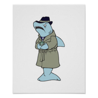 funny ganster shark poster