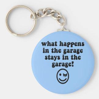Funny garage basic round button key ring