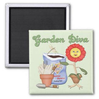 Funny Garden Diva Square Magnet