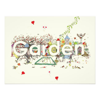 Funny Garden Word Art Colourful Painting Design Photo Print