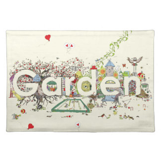 Funny Garden Word Art Colourful Painting Design Placemat