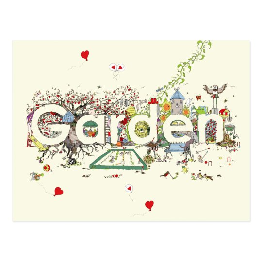 Funny Garden Word Art Colourful Painting Design Postcard