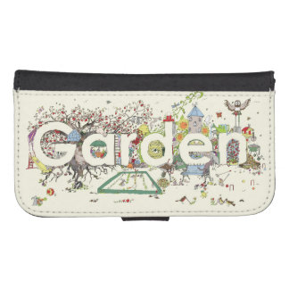 Funny Garden Word Art Colourful Painting Design Samsung S4 Wallet Case