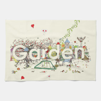 Funny Garden Word Art Colourful Painting Design Tea Towel