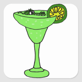 Funny Gator Swimming in Margarita Glass Square Sticker