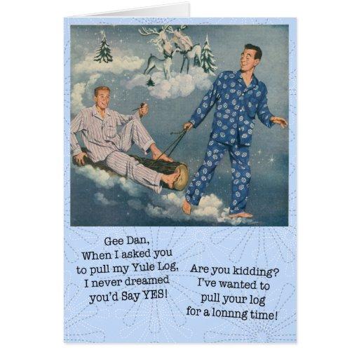 Funny Gay Yule Log Card