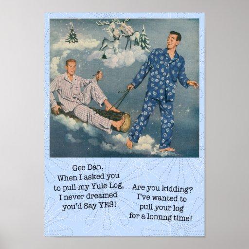 Funny Gay Yule Log Poster