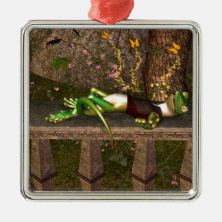 Funny gecko christmas tree ornament