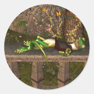Funny gecko round stickers