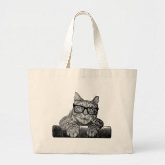 funny geek cat gifts jumbo tote bag