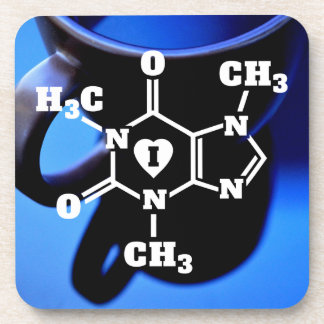Funny Geek I Heart Coffee Caffeine Molecule Beverage Coaster