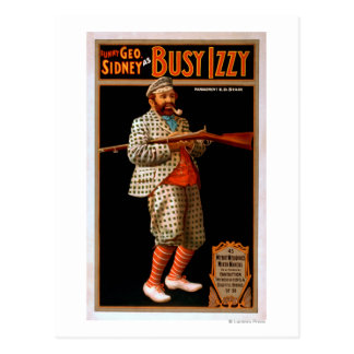 Funny Geo Sidney as Busy Izzy Theatre Poster Postcards