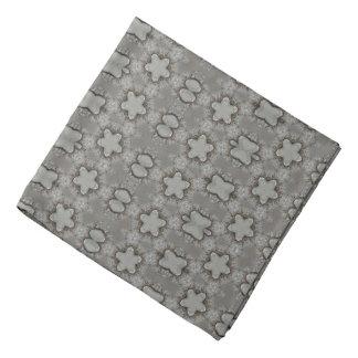 Funny Geometric Pattern with Stars Silver Gray Bandana