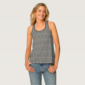 Funny Geometric Pattern with Stars Silver Gray Tank Top