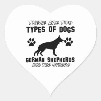 Funny german shepherd designs heart sticker