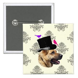 Funny German shepherd dog 15 Cm Square Badge